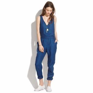 Madewell Crossback Linen Indigo Jean Jumpsuit 0